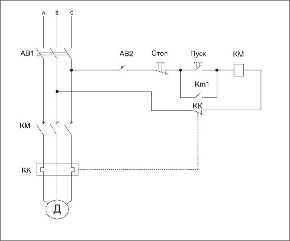 Реверсивная схема подключения электродвигателя - фазировка
