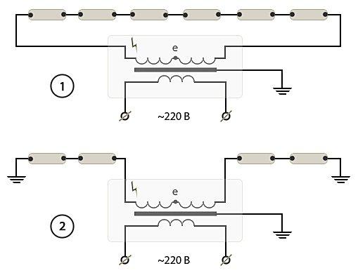 Схемы подключения неоновых трубок