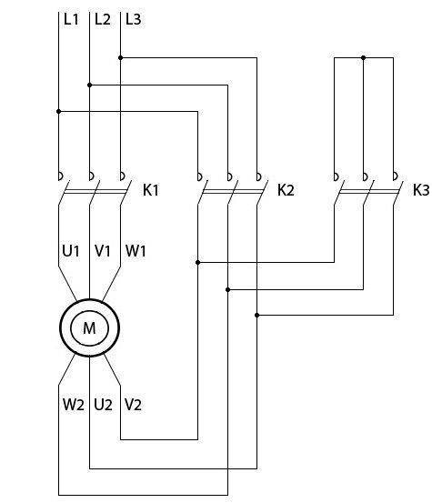 Схема питания электродвигателя звезда-треугольник