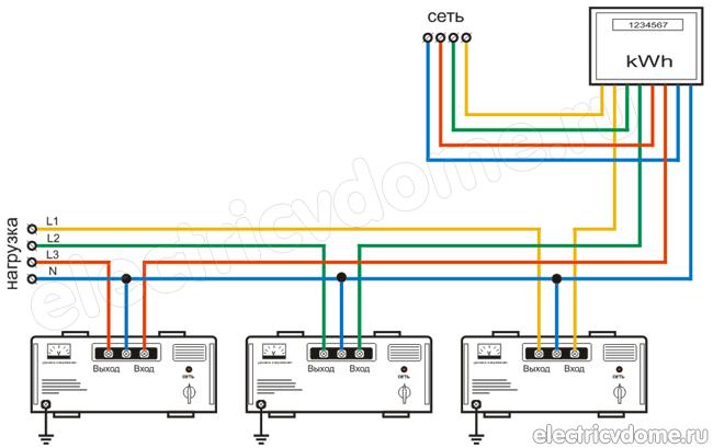Подключение стабилизатора напряжения, схема подключения