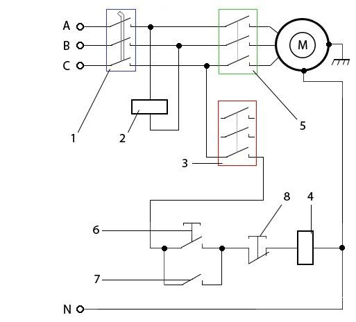 Схема защиты электродвигателя от пропадания фаз
