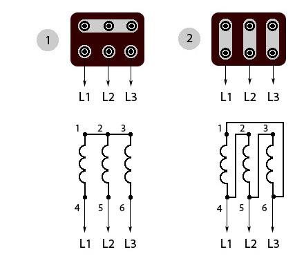 Схемы подключения обмоток трёхфазных электродвигателей